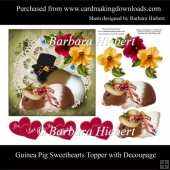 Guinea Pig Sweethearts Topper with Decoupage
