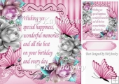 Pretty silver & pink roses with butterflies & verse 8x8