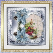 Christmas flowers 7x7 card with decoupage and sentiment tags