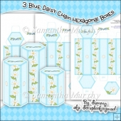 3 Blue Daisy Chain Hexagonal Boxes