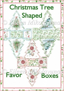 Christmas Delights Tree Shaped Favor Boxes Set