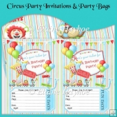 Circus Party Invitations and Party Bags