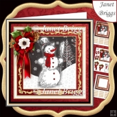 BLACK & WHITE SNOWMAN 7.7 Decoupage & Insert Mini Kit