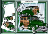 Green 1948 Woody Car with vintage watch 8x8 Mini Kit