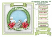 Christmas Holly Wreath Snowy Owl Card Topper & Tags