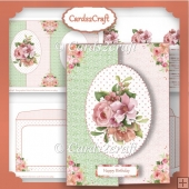Peach and pink flowers fold back card set