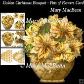 Golden Christmas Bouquet - Pots of Flowers Card