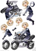 Biker Chick Night Decoupage Sheet