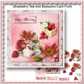 Strawberry Tea And Blossoms Card Front