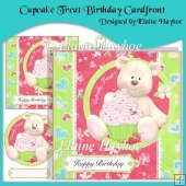 Cupcake Treat Birthday Cardfront with Decoupage