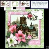 Vintage Christmas Church And Lilies - 6 x 6 Inch Card Kit