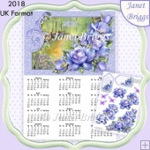 PORCELAIN ROSES 2018 A4 UK Calendar with Decoupage Kit