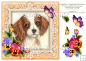 King Charles Spaniel Pansies Butterfly 8 x 8 Card Topper
