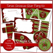 Tartan Christmas Silver Party Set