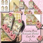 COUNTRY ROSE - Scalloped Pocket Card Kit by Lynne K Crawshaw