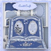 Blue flower Christmas book easel card