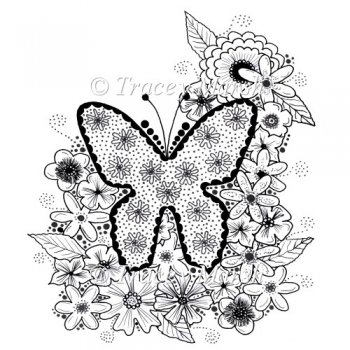 :: Floral Butterfly Digital Stamp - Commercial and Personal Use
