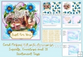 Country Garden Card with decoupage, inserts and envelope 18 Tags