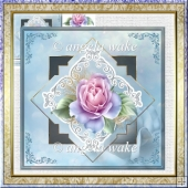 Diamond pink rose card with decoupage