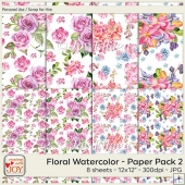 12x12 PU Floral Watercolor Background Papers 2