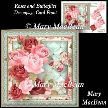 Roses and Butterflies - Decoupage Card