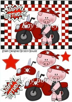 Cute Red Biker pig with stars in chequered frame A5