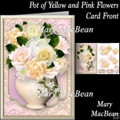 Pot of Yellow and Pink Flowers Card Front