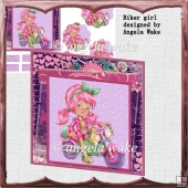 Biker girl card front with petal stacker
