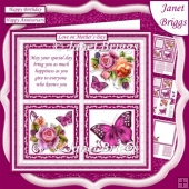 ENGLISH ROSES BUTTERFLIES & VERSE SQUARES 7.5 Quick Layer Card