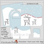 Elegant Reindeer Christmas Card and Gift Bag with Tag