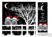"What A Hoot It's Christmas Owls - 8"" x 8"" Card Topper & Bookmark"