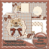 Puppy 3 In Pocket Scallop Foldback Card