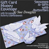 Snowman and Gifts with Butterflies Card/Money Envelope Mini Kit