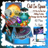 OUT IN SPACE ROCKET FLYING SAUCERS 3D POP UP CARD BOX KIT