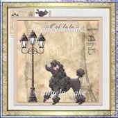 Poodle in Paris 7x7 card and decoupage