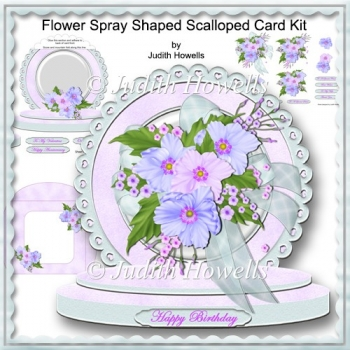 Flower Spray Shaped Scalloped Card Kit
