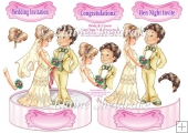 Bride & Groom Shaped Card Topper With Decoupage