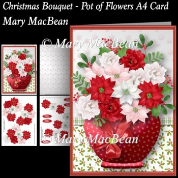 Christmas Bouquet - Pot of Flowers A4 Card