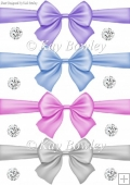 pretty pastel big bows with diamonds set two