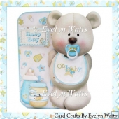 Baby Boy Bear Shaped Fold Card Kit