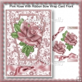 Pink Rose With Ribbon Bow Wrap Card Front