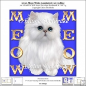 Meow Meow Blue Eyed White Longhair Cat On Blue - 6 x 6 Card Kit