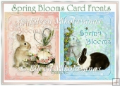 Spring Blooms Easter Bunny Card Fronts Set of 2