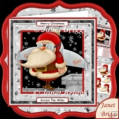 Rocket Santa Christmas 8x8 Decoupage Kit