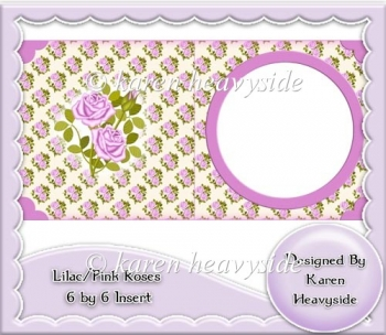 Lilac Pink Roses 6 by 6 Card Front Insert