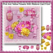 Pink And Yellow Flowers With Ribbons Card Front