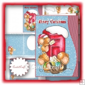 Wavy edge mice and letter box card set