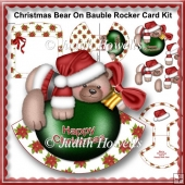 Christmas Bear On Bauble Rocker Card Kit