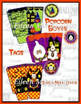 BOO Halloween Popcorn Boxes and Tags Set