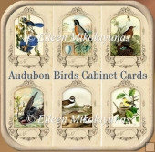 Audubon Birds Vintage Cabinet Cards for Toppers, Inserts, Tags